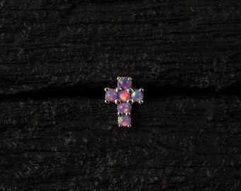 Purple opal Cross push in 16gauge bio flexible Tragus / lip labret / cartilage/ helix piercing