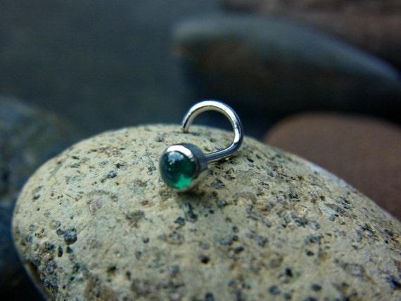 emerald cz cabachon 3mm bazel setting nose by