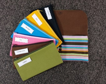 Budget Envelope wallet, Cash Budget System READY TO SHIP -Multicolor Stripes (It can be used with the Dave Ramsey system)