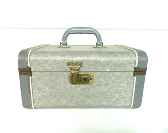 Vintage Train Case Blue Gray