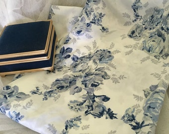 Shabby chic blue and white floral pillowcase and vintage blue jewelry box, shabby blue and white pillow covers (3 items)