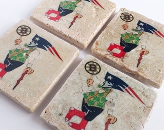 The Boston Sports Collection of Handmade, Tumbled Tile Coasters