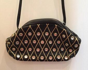 """Vintage 80s """"Tiffany Rose"""" crystal studded bag (black)"""