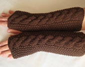 Fingerless Gloves Knit Long  Brown Wrist  Warmers,Arm Warmers, Driving  Mitts, Chocolate  Brown Long Wool  Winter Hand  Warmers, Women