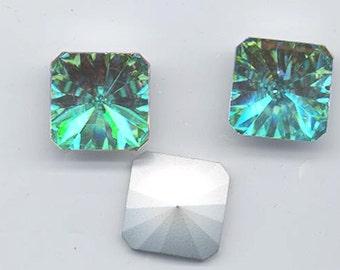 """SALE! Four vintage Swarovski """"secunda"""" crystal stones: Art. 2650V - 18 mm - crystal AB"""