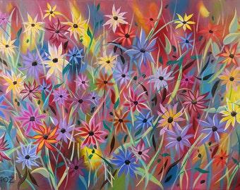 Large Abstract Wildflower Painting Original Flowers Artwork Surreal Modern Vivid Colorful 24x36 JMichael