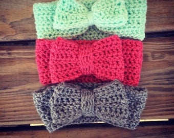 Bow earwarmer, crochet bow earwarmer, bow headbands