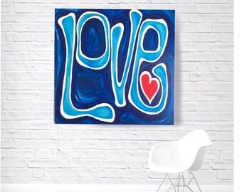 Large Hand Painted Love Wall Art For Navy Blue Teen Bedroom