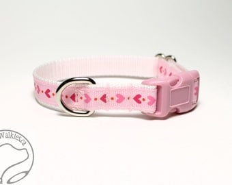 "Little Hearts Valentine Dog Collar - 1/2"" (12mm) Wide - Martingale or Quick Release Dog Collar - Choice of collar style and size"