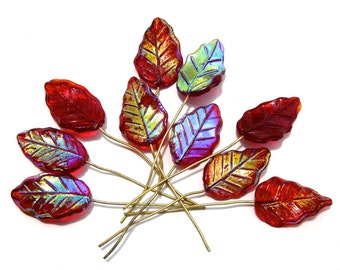 SUPPLY: 10 Large Red Glass Leaf Headpins - Embedded Brass Wire Glass Drops -SKU 3-D3-00003120