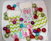 Whimsical Christmas tree stocking lights hot pink green lime personalized curly toe elf design girly teen family chevron