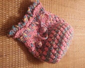 Crocheted Drawstring Bag, Crochet Gift Bag, Crochet Drawstring Pouch. FREE UK DELIVERY
