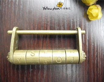 78*15*38mm Vintage Style antique brass color jewelry box,wooden box lock,padlock with key,English password Lock C012