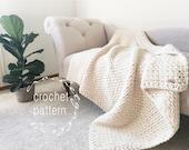 CROCHET Pattern Chunky Blanket Throw Afghan Pattern The IRISH MOSS Blanket