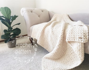 CROCHET Pattern Chunky Blanket Throw Afghan Pattern The IRISH MOSS Blanket