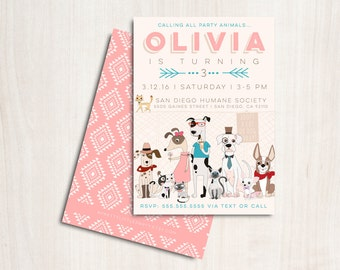 Hipster Dogs & Cats Invitation in pink - Puppy and Kitty  Adoption Party  - Printable Party Supplies
