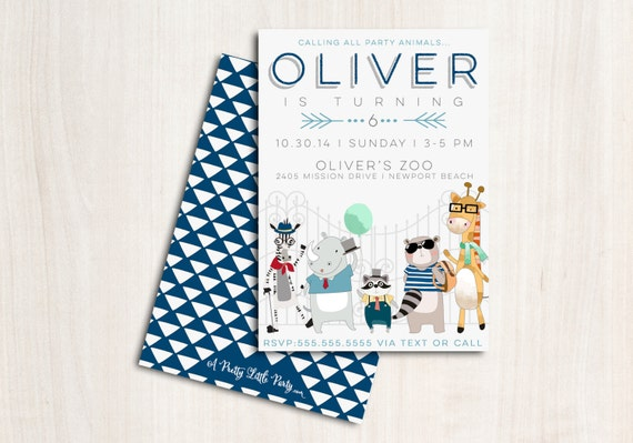 Hipster Zoo Animals Invitation - Hipster Zoo Party  - Printable Party Supplies