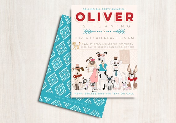 Hipster Dogs & Cats Invitation - Puppy and Kitty  Adoption Party  - Printable Party Supplies