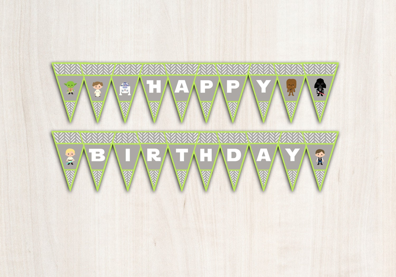 Star Wars {inspired}  Banner in Green - Space Wars Party Supplies - INSTANT DOWNLOAD