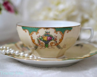 Czechoslovakian Floral Teacup And Saucer With Hexagon Foot,  Bone China Tea Cup And Saucer, ca.  1891-1909
