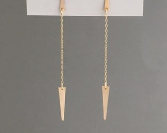 Gold Filled Spike Dangle Earrings