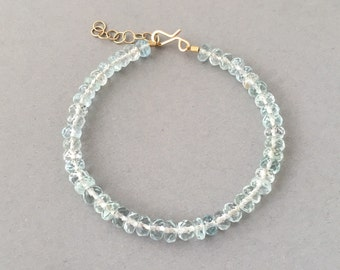 Faceted Blue Aquamarine Stone Beaded Gold Bracelet also available in Silver and Rose Gold