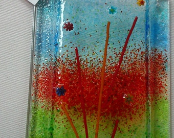 Wall Vase in Fused Glass - Red Flower Garden - Hanging Vase - Pocket Vase