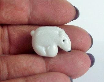 Lampwork glass miniature sculpture polar bear bead, for Christmas, winter jewellery or decoration