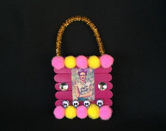 Pink and yellow Frida KahloPunk Style Pom Pom Wooden Ornament