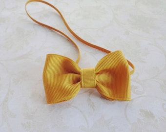 Small Mustard Yellow Bow Headband, Newborn Gold Bow Headband, Baby Grosgrain Ribbon Bow Headband, Tiny Bowtie Headband, Petite Bow Headband