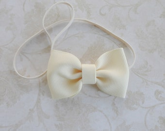 Small Ivory Bow Headband,Newborn Bow Headband, Baby Grosgrain Ribbon Bow Headband, Tiny Bowtie Headband, Petite Bow Headband, Baby PhotoProp
