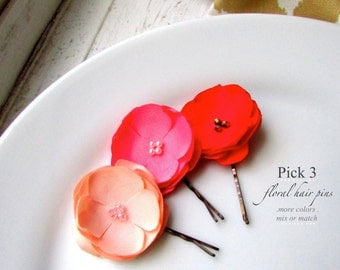 "PICK 3, Small Flower Bobby Pins 1.5"", Peach Pink and Red Floral Hair Pin Set, Coral Hair Clip, Cute Pearls, Fabric Flowers Bridesmaid hair"