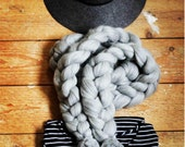 Pom Pom Scarf in Grey Pure Wool. Chunky Stitch. Handmade in UK. Ready to Ship. Grey Marl Merino. 2mts. January SALE - Price reduced