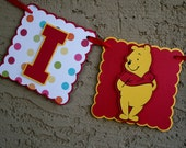 Winnie the Pooh. Birthday Banner.  I am 1 banner. Red and Yellow. Happy Birthday. Photo Prop. Highchair Banner.
