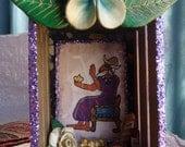 Small El Shrine.  Nicho.  Canaanite God.  Ilu. Mini Altar.  Mini Shrine. Nicho. Shadow Box. Mixed Media Altered Art.