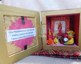 Lakshmi Box Shrine. Miniature Nicho. Travel Altar. Shadow Box. Shadow Box. Mixed Media Altered Art.