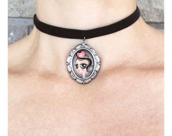 Velvet choker with art print - Cameo - Statement Necklace