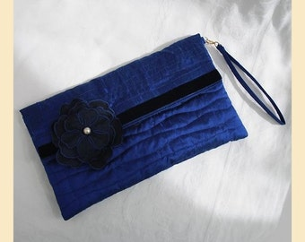 wedding clutch bag with wristlet in quilted silk with corsage - 'Evelyn' design, available in blue, dusky rose, blush, chocolate or silver