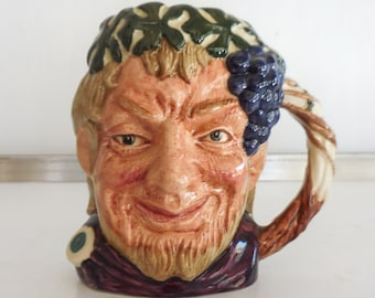 """Small Bacchus Toby Jug Grape Vine Handle 4"""" Royal Doulton D6505 c1958"""