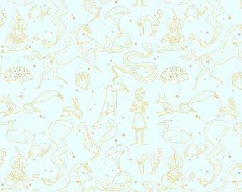 The Whisper Palette - Constellation in Gold Metallic - A-5976-MT - Lizzy House for Andover - 1/2 Yard