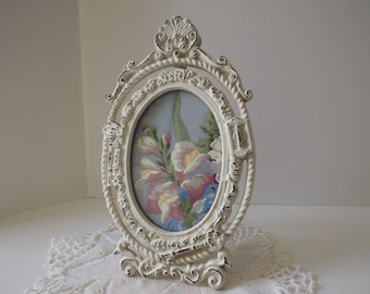 Off White Oval Wrought Iron Picture Frame, Rustic Cast Iron, Standing, Chippy, Lock & Key Motif, Shabby Chic Style