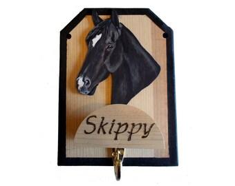 Horse Halter Hook, Bridle Holder, Wood Rack, Tack Room Wall Hanger