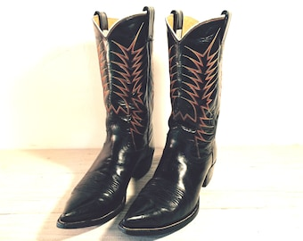 Vintage Cowboy Boots, Nocona Pointy Toe Flat Top Black All Leather, Men's size 12 B