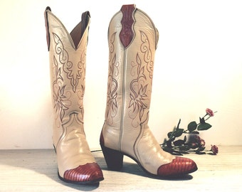 Vintage Cowboy Boots, Justin Tall 80's Bone All Leather with Lizard Skin Toes and High Heels, Women's size 6 B