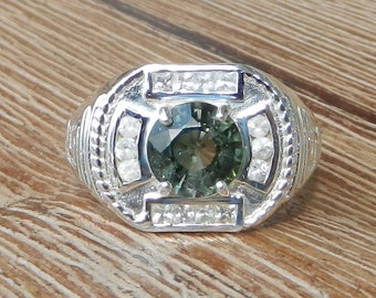 Mens Natural 2.15 CT Green Tourmaline and White Sapphire Ring 925 Sterling Silver