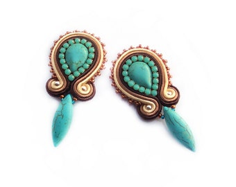 Soutache earrings - light, very elegant, eyecatching and unusual Handmade Soutache Jewelry - PRINCESS 7