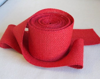 RED Burlap 4 inch ribbon/ 5 yard piece
