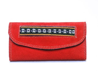 Handmade Women's Genuine Red Suede Leather Wallet