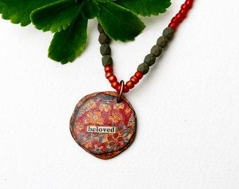 Beloved Mixed Media Necklace, Pendant Necklace, Mixed Media Jewelry, Red Necklace, Beaded Jewelry, Inspirational, Short Necklace, Recycled