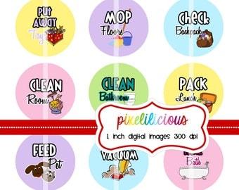 Chore Chart Digital Bottle Cap Images - Pastel Colors 2 -  1 Inch Digital Collage - Instant Download